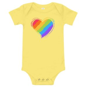 Rainbow Heart Baby Bodysuit One piece yellow