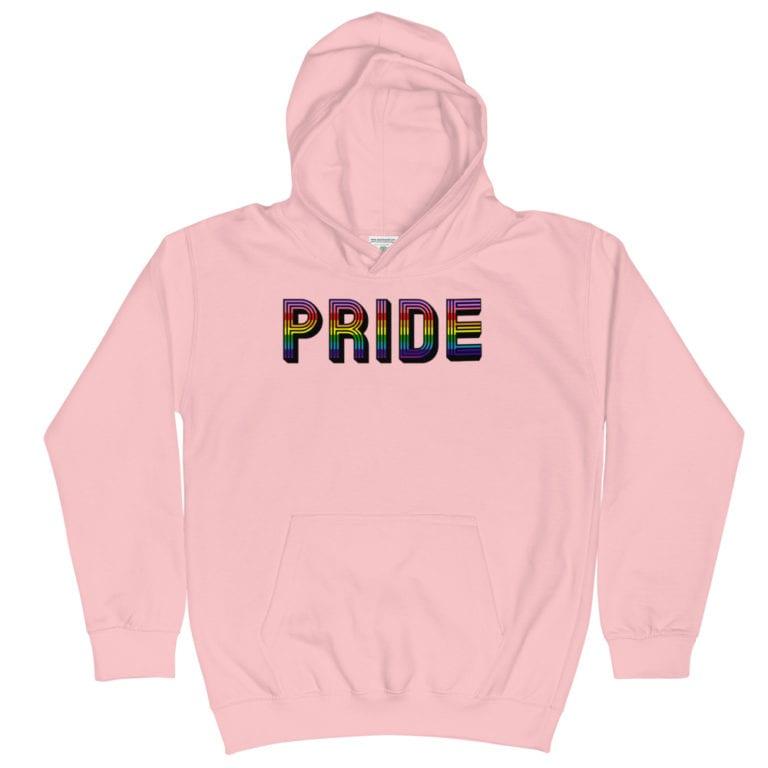 Retro Pride LGBTQ Kid Hoodie Pink