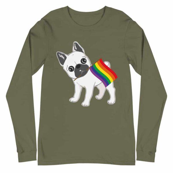 Gay Pride French Bull Dog Long Sleeve Tshirt