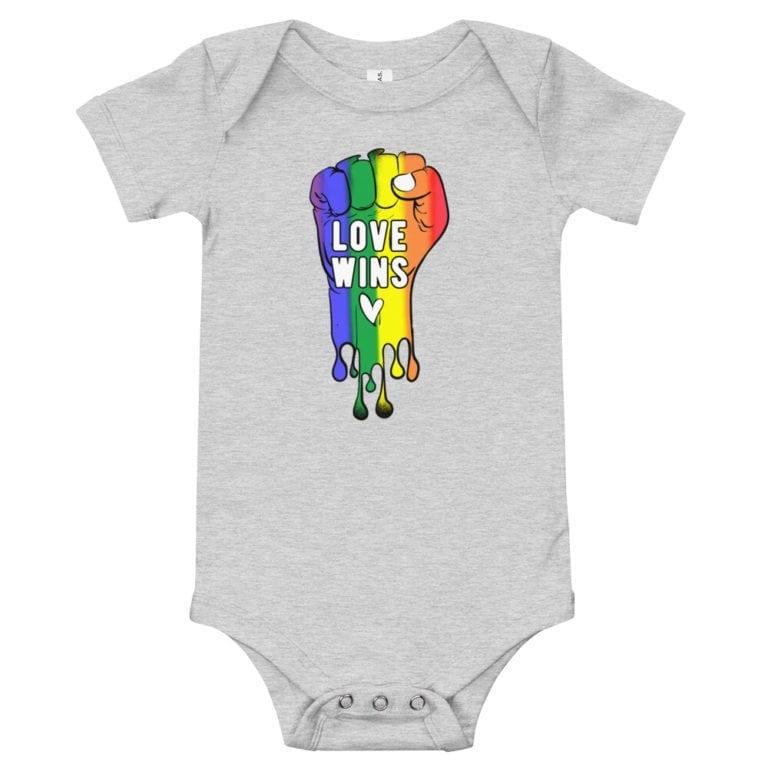 Love Wins Baby Bodysuit Onepiece Heather