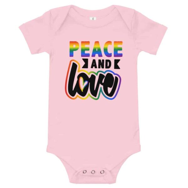 Peace and Love Baby Bodysuit One piece Pink