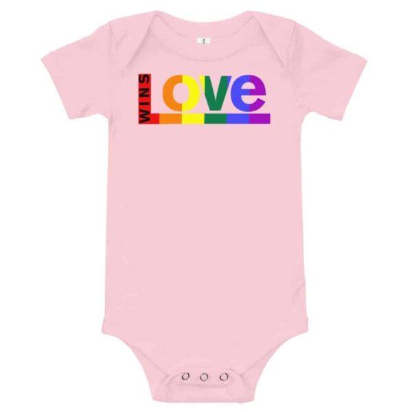 Love Wins! One piece Baby Bodysuit Pink