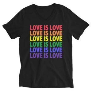 Love is Love Pride Vneck Tshirt Black
