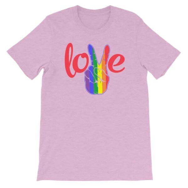 Peace Love LGBTQ PRIDE Tshirt Lilac