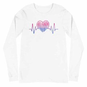 Bisexual Pride Heartbeat Long Sleeve Tshirt