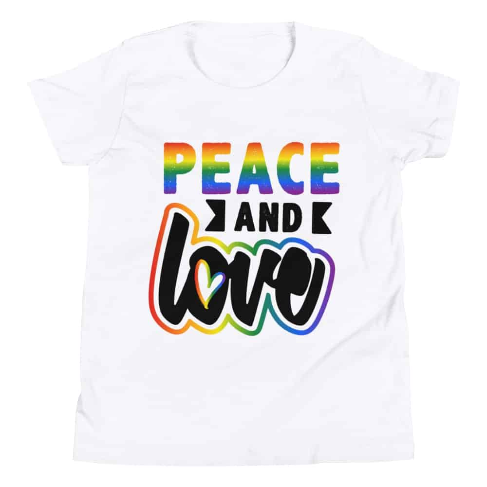 Peace and Love Kids Tshirt White