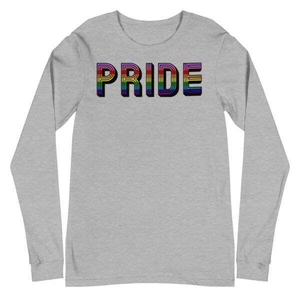 Retro PRIDE LGBTQ Long Sleeve Tshirt Grey