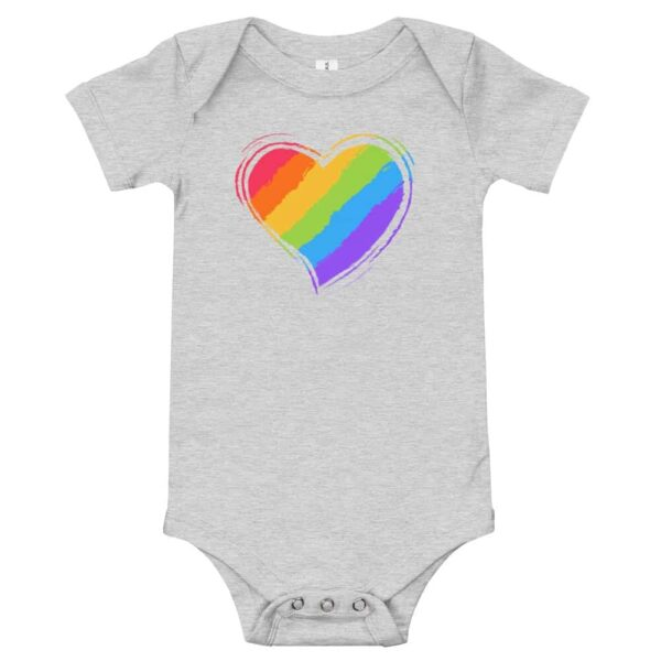 Rainbow Heart Baby Bodysuit One piece heather