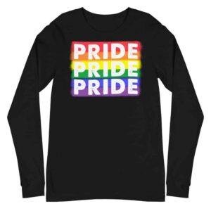 PRIDE X3 LGBTQ Long Sleeve Tshirt Black
