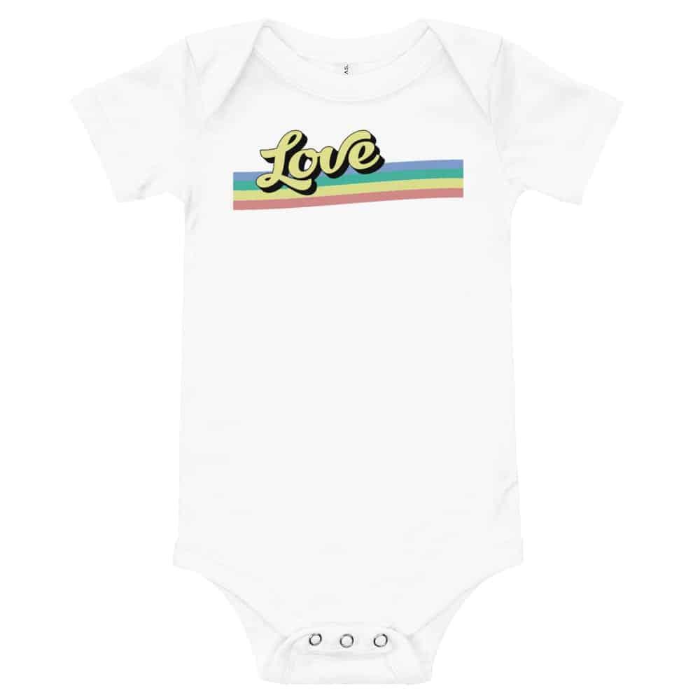 LGBTQ Baby Retro Love One Piece Bodysuit