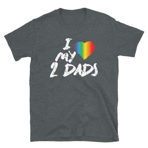 Gay Pride Love My 2 Dads Rainbow Tshirt