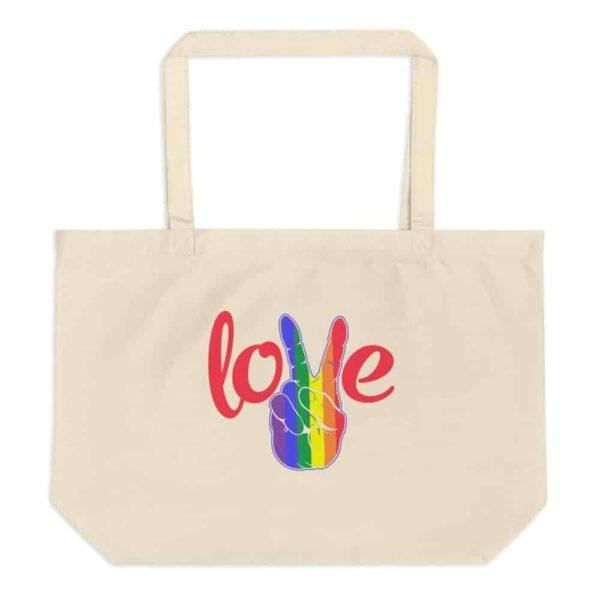 Peace Love LGBTQ PRIDE Large Organic Tote Bag