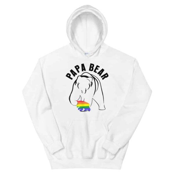 Papa Bear Gay Baby Hoodie White
