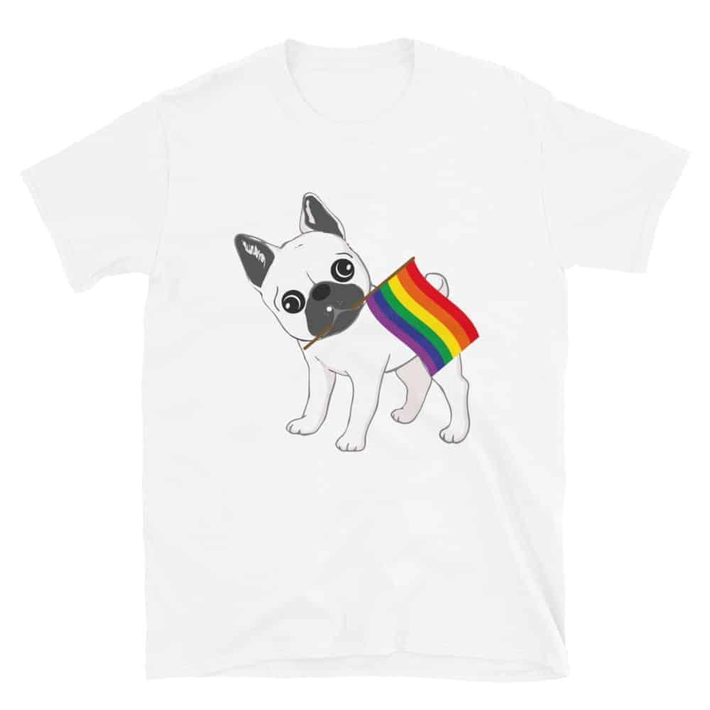 LGBTQ Pride French Bulldog Rainbow Flag Tshirt