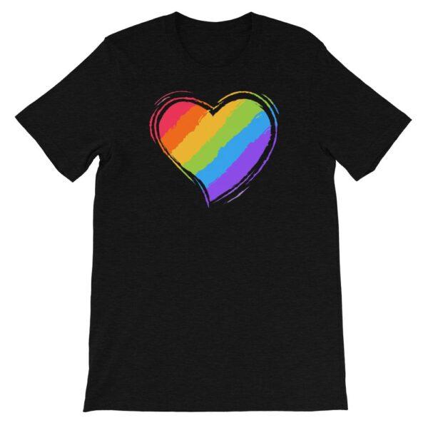 Rainbow Heart LGBTQ Tshirt Black