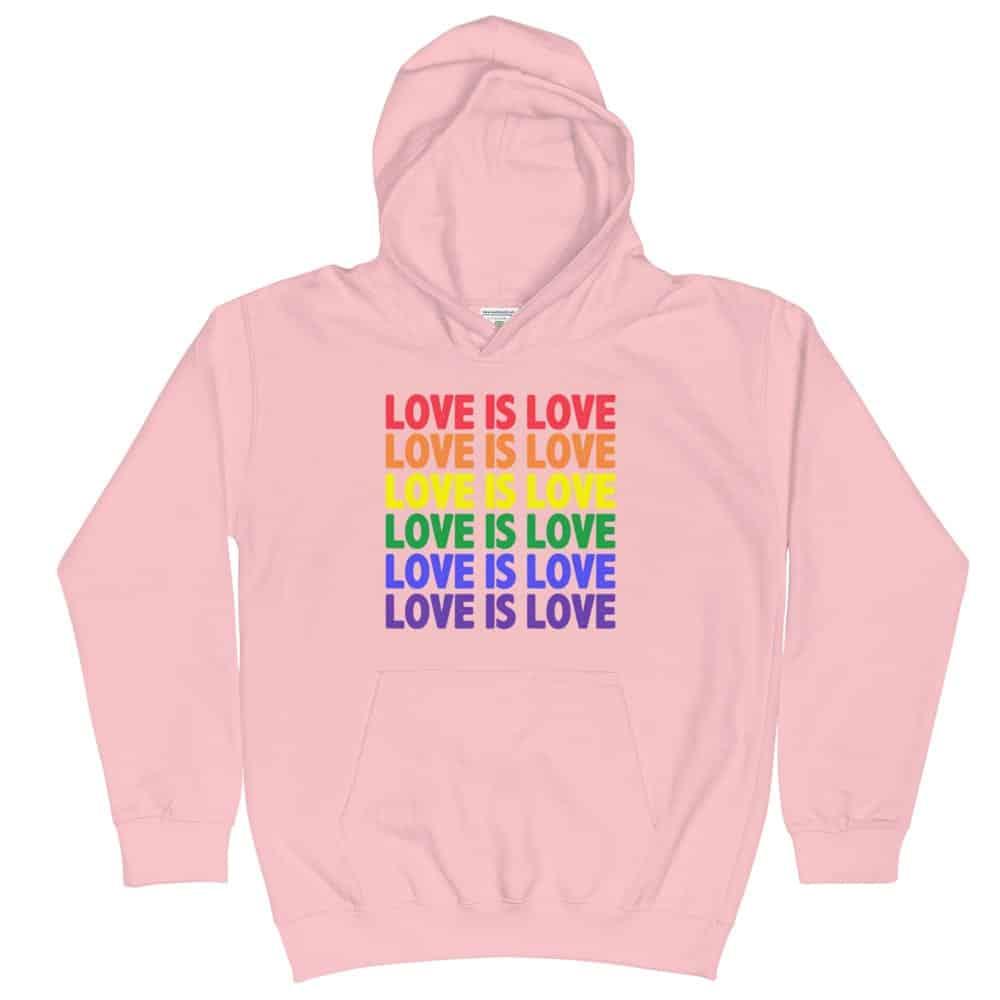 Love is Love Multi Kids Hoodie Pink
