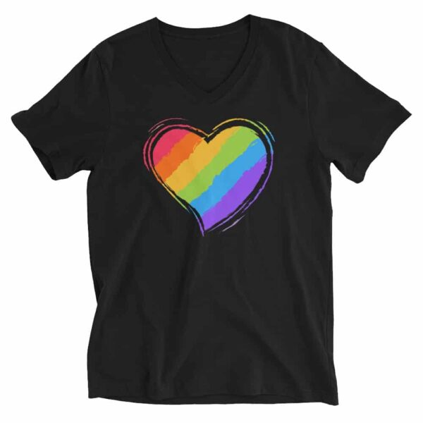 Rainbow Heart PRIDE Vneck Black