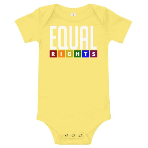 Equal Rights LGBTQ Pride One Piece Baby Bodysuit Yellow