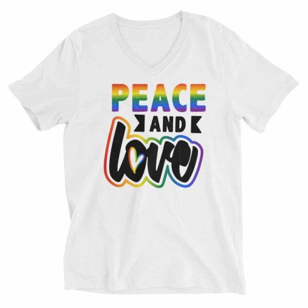 Peace and Love Pride Vneck Tshirt
