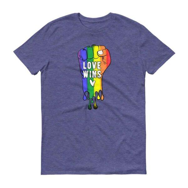 LOVE WINS Pride Tshirt Heather Blue