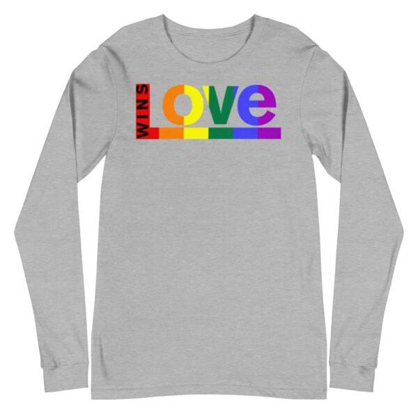 Love Wins LGBTQ Long Sleeve Tshirt Grey