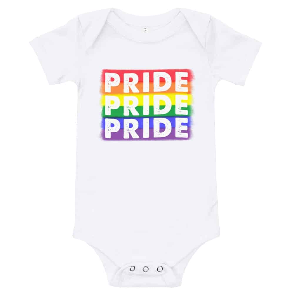 Rainbow PRIDE Baby Onepiece White