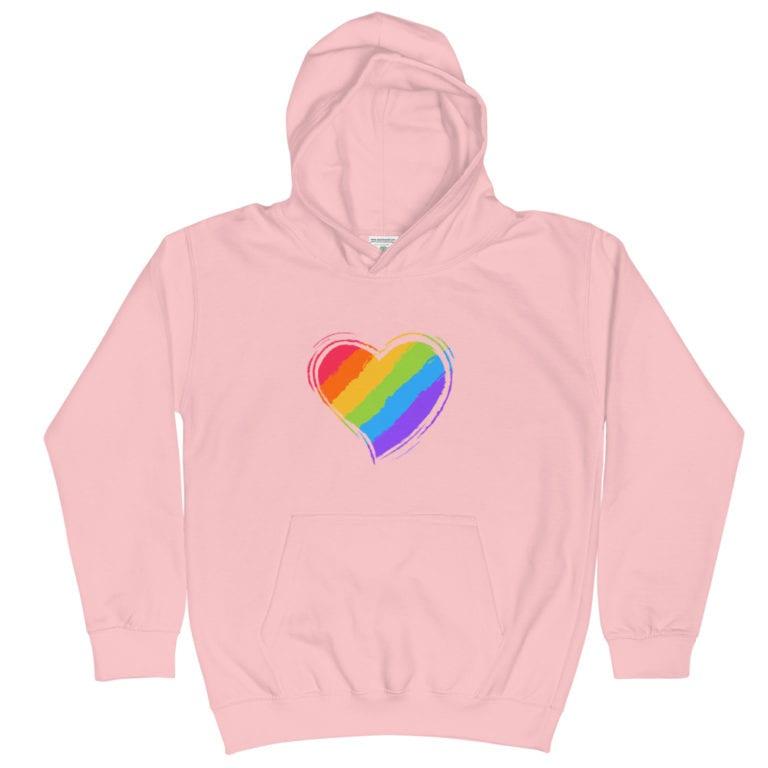 Rainbow Heart Kid Hoodie pink