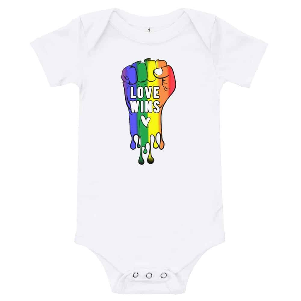 Love Wins Baby Bodysuit Onepiece White