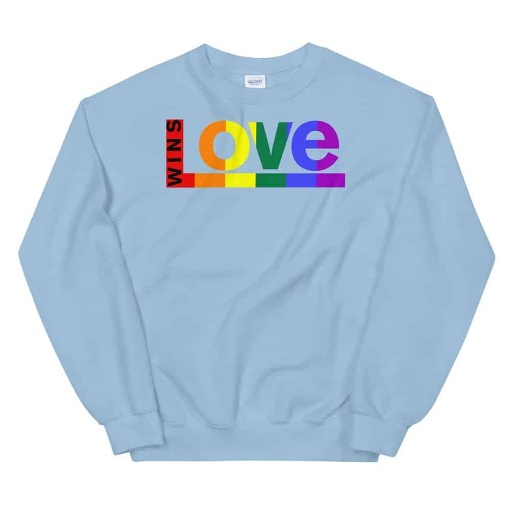 Love Wins LGBTQ Sweatshirt Light Blue