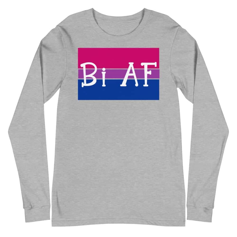 Bi AF LGBTQ Long Sleeve Tshirt Gregy