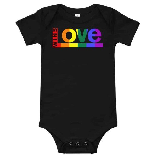 Love Wins! One piece Baby Bodysuit Black
