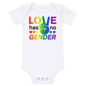 Love Has No Gender Onepiece Baby Bodysuit White