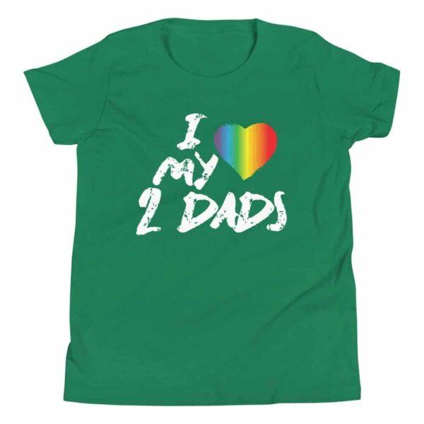 Gay Pride I Love My 2 Dads Kids Tshirt