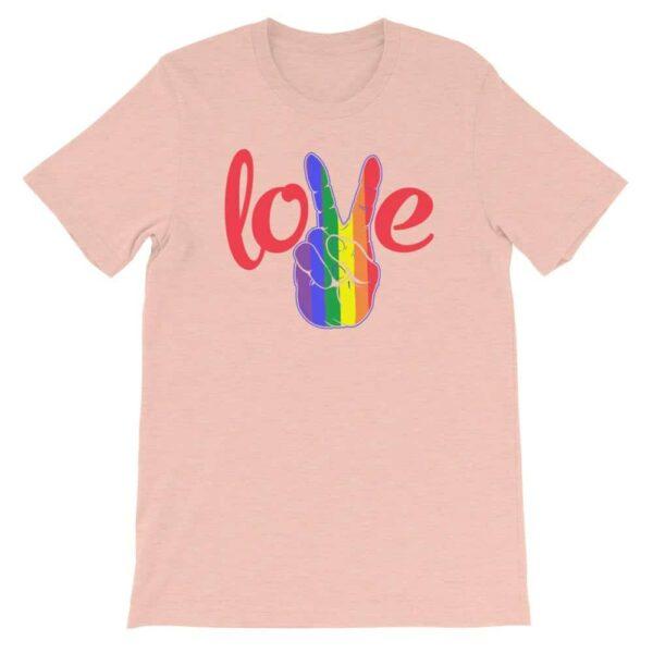 Peace Love LGBTQ PRIDE Tshirt Peach