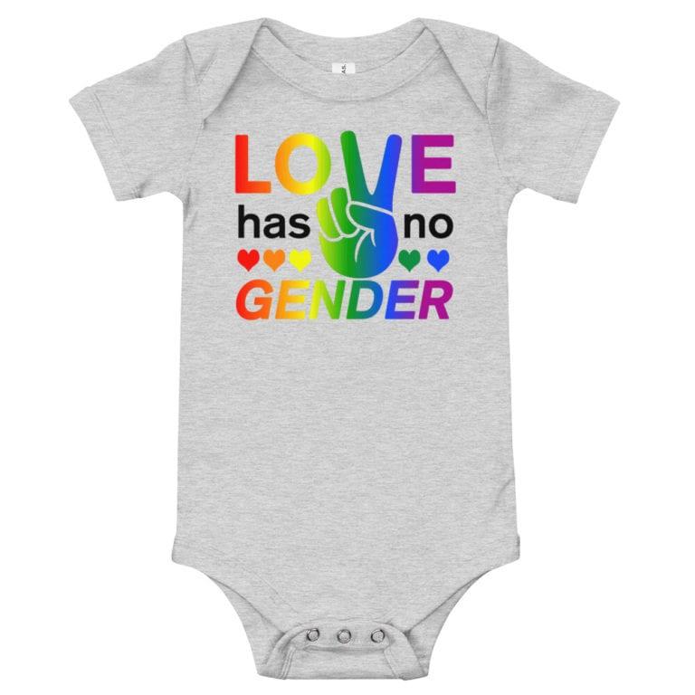 Love Has No Gender Onepiece Baby Bodysuit Grey