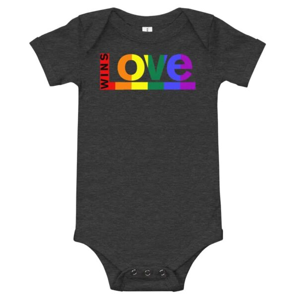 Love Wins! One piece Baby Bodysuit Dark Grey