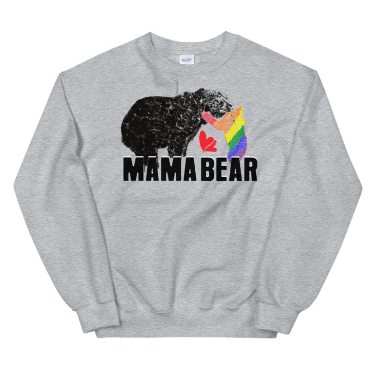 Mama Bear Gay Child Pride Sweatshirt Grey