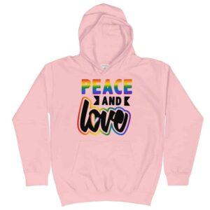 Peace and Love LGBTQ Pride Kid Hoodie Pink