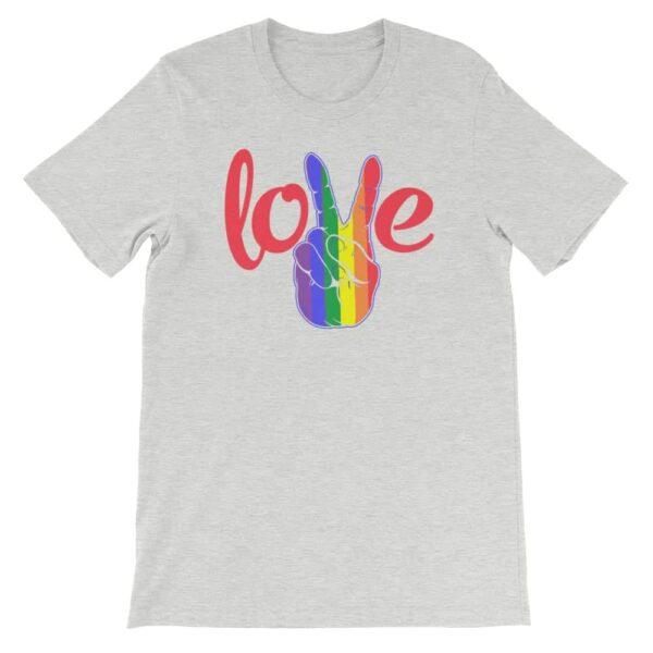 Peace Love LGBTQ PRIDE Tshirt Grey
