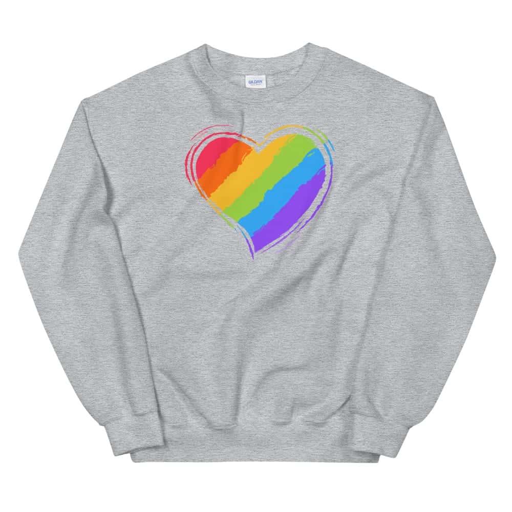 Rainbow Heart Sweatshirt Grey