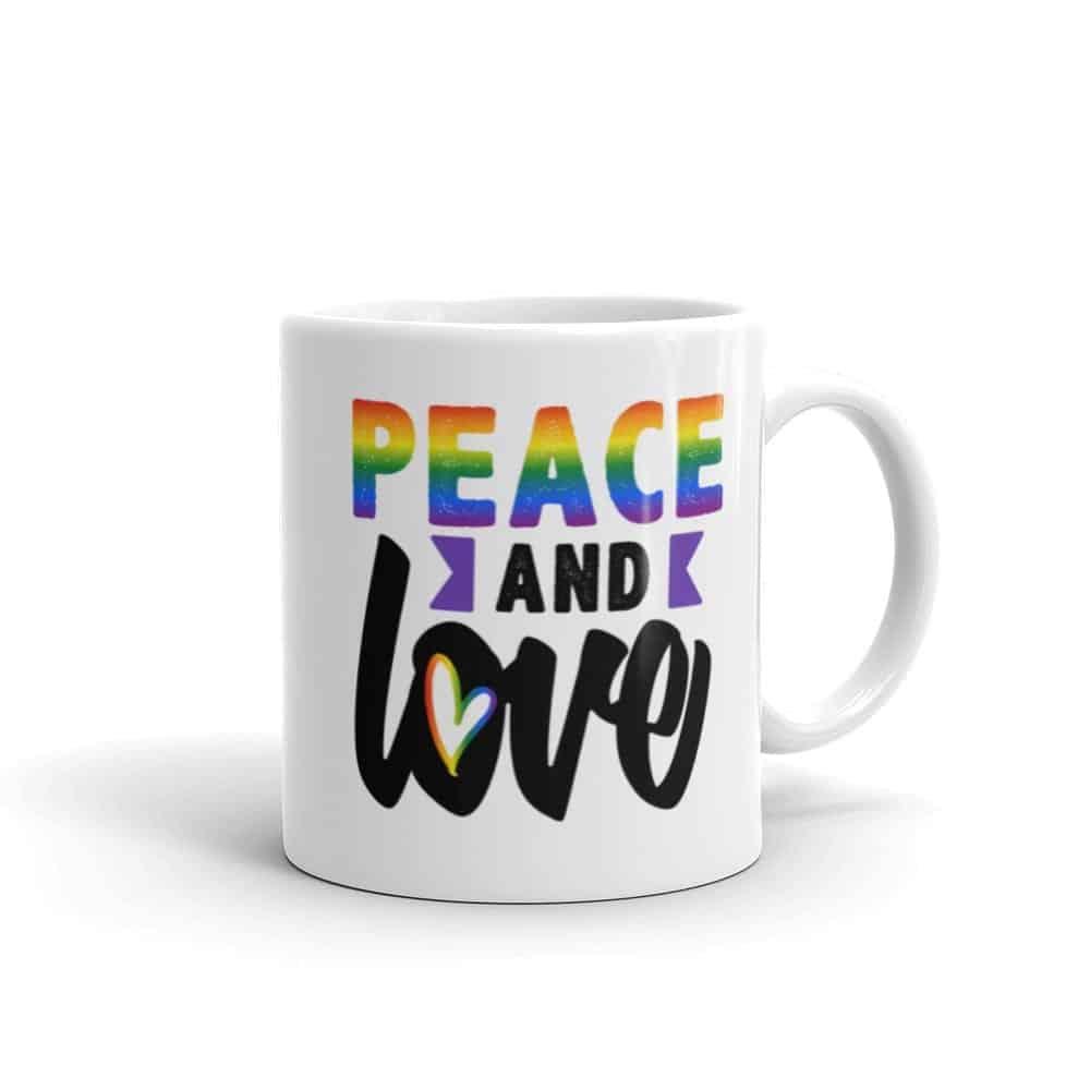 Peace and Love LGBTQ Pride Coffee Mug