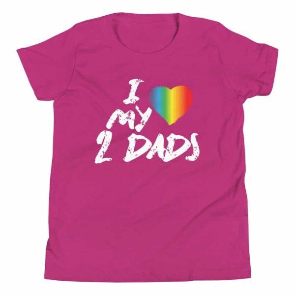 I Love My 2 Dads Kids Tshirt