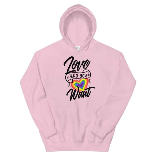 Love Who You Want LGBTQ Heavyweight Hoodie Pink