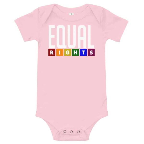 Equal Rights LGBTQ Pride One Piece Baby Bodysuit Pink