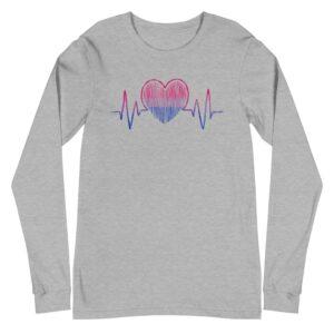 Bi Pride Heartbeat Long Sleeve Tshirt