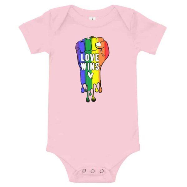 Love Wins Baby Bodysuit Onepiece Pink