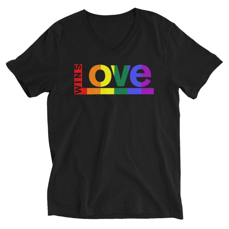 Love Wins Pride Vneck Tshirt Black