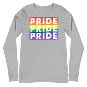 PRIDE X3 LGBTQ Long Sleeve Tshirt Grey