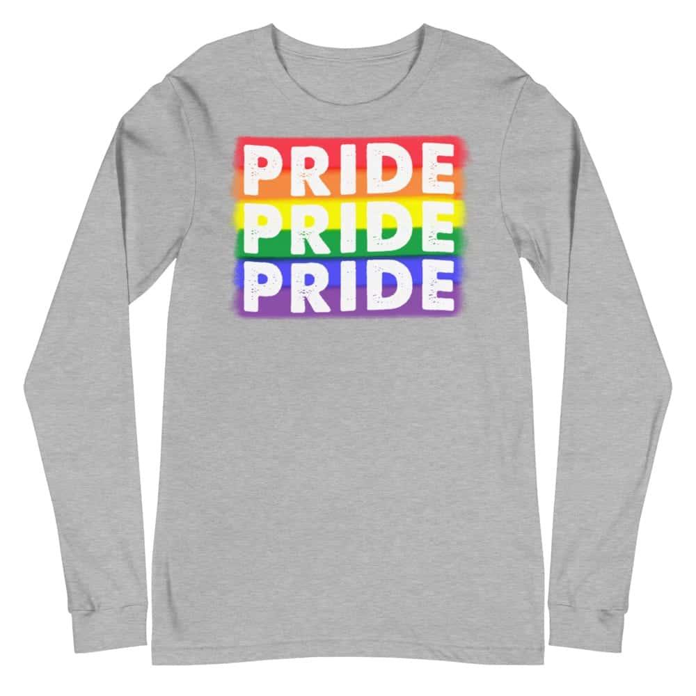 PRIDE X3 LGBTQ Long Sleeve Tshirt Grey
