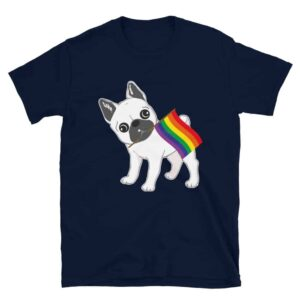 Gay Pride French Bulldog Rainbow Flag Tshirt